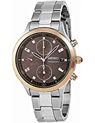 Seiko Chronograph Brown Dial Stainless Steel Ladies Watch SNDX06