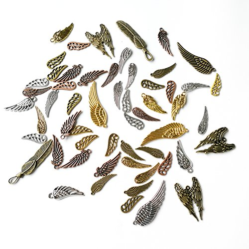 Sumje 100g DIY Assorted Antique Wing Charms Steampunk Angel Wing Good Luck Wing Bird Wing Love Eagle Wing Charms Pendant for Crafting Jewelry Making Accessory (Assorted Color) (Feather Style) (Eagle Bird Charm)