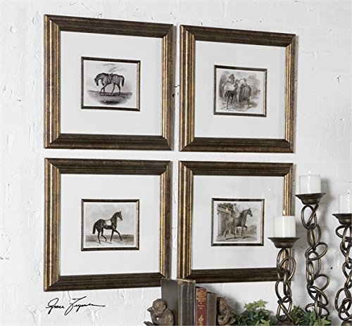 Ambient Bronze Leaf Frames With A Black Wash And Matching Fillets Are Around Inner Edges Of Mats Horse Art by Ambient