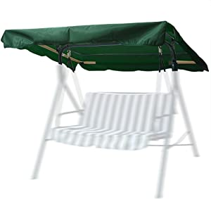 """Yescom 72 1/2"""" x 53 1/2"""" Outdoor Swing Canopy Replacement UV30+ 180gsm Top Cover for Park Seat Patio Yard Green"""