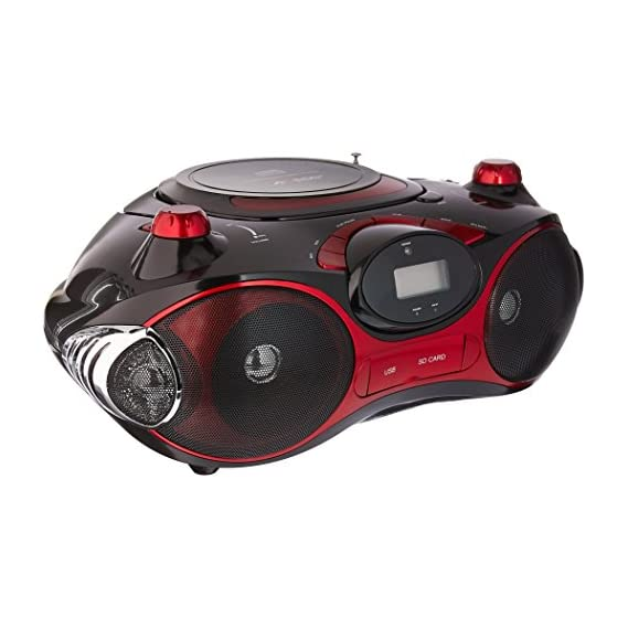 Axess PB2704 Red Portable Boombox MP3/CD Player with Text Display with AM/FM Stereo USB/SD/MMC/AUX Inputs
