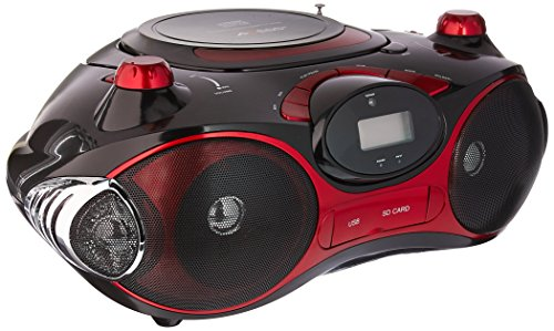 e MP3/CD Boombox with AM/FM Stereo, USB, SD, MMC, AUX Inputs (Red) ()