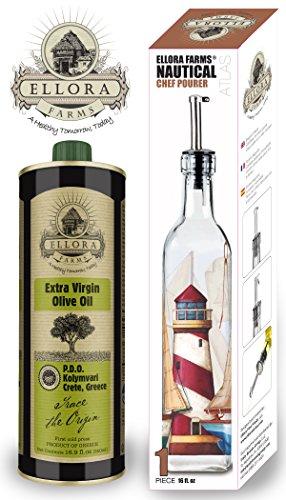 Ellora Farms | Certified Single Estate & Single Origin 16.9 oz Tin & Atlas Nautical Chef Pourer Cruet Bottle | 100% Traceable EVOO | Fresh Harvest & Cold Extracted | - Single Atlas
