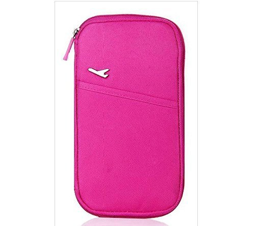 vanki Multi-Functional Fashion Ticket Passport Credit Card ID Document Organizer Holder Bag Purse Travel Pouch Case Cover (Rose Red)