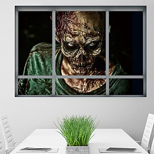 my fell 3D Halloween Zombie Fake Window Ghost Decals Window Wall Sticker Scary Wallpaper Removable Home Living Room Decor Poster