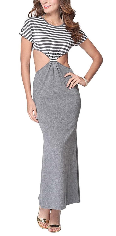 Aivtalk Damen Kurz Arm rückenfrei Maxi Casual Kleid Cocktailkleid Partykleid - Gestreift Grau