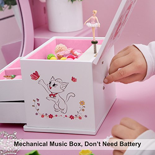 SONGMICS Ballerina Music Jewelry Box Wooden Storage Case for Little Girls, Cartoon Cat, Fur Elise Melody, White UJMC22WT by SONGMICS (Image #6)