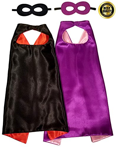 Superhero Cape Mask - Pink Purple & Black Red - 2 Double-Sided Cape Mask Sets. Double Layered Capes.