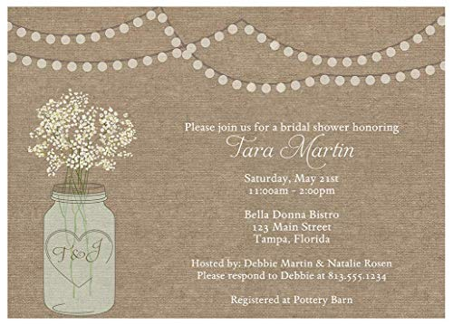 Burlap Bridal Shower Invitations Mason Jar Rustic Wedding Party Invites Country Barn Chic Baby's Breath Flowers Tea Lights Hipster Personalized Customized (10 count)