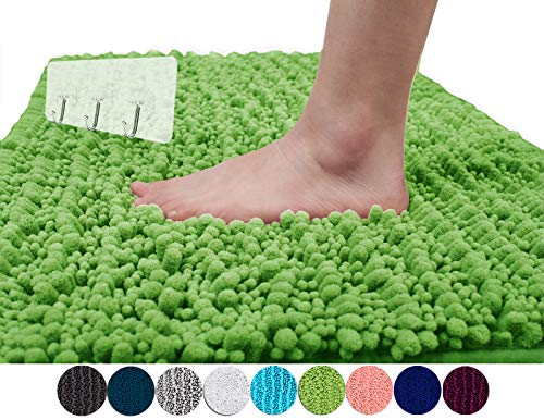 Yimobra Original Luxury Shaggy Bath Mat Large Size 31.5 X 19.8 Inch Super Absorbent Water,Non-Slip,Machine-Washable,Soft and Cozy,Thick Modern for Bathroom,Bedroom,Floor,Moss (Presented 3 Pack Hooks)