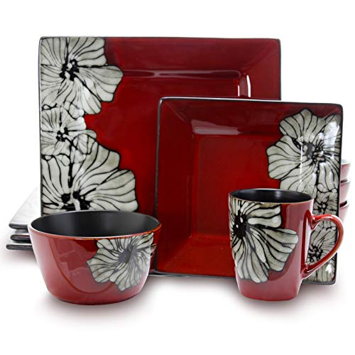 - Elama EL-WINTERBLOOM Luxurious Red Winter Bloom 16 Piece Dinnerware Set with Complete Settign for 4, 16pc Flower Design