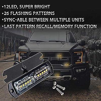 ASPL 4pcs Sync Feature 12-LED Surface Mount Flashing Strobe Lights for Truck Car Vehicle LED Mini Grille Light Head Emergency Beacon Hazard Warning lights (Amber): Automotive