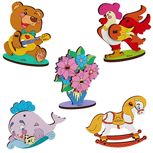 Rocking Horse Bears (UGEARS 3D Wooden DIY Jigsaw Puzzle Build and Paint Assemble Toys Kits for Kids- Set of 5 Small Models - Whale, Bear Cub, Bouquet, Cockerel and Rocking Horse)