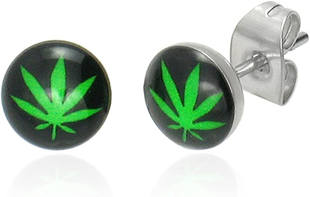 Boucles doreilles homme Zense en acier noir feuille de cannabis et marijuana ZE0020 Zense