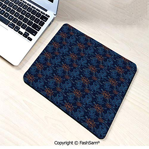 Desk Mat Mouse Pad Oriental Koi Fish Floral Arrangement Petals and Leaves Doodle Style Animal for Office(W9.85xL11.8)