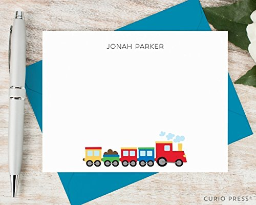 COLORING TRAIN - Personalized Flat Kid Stationery/Stationary Notecard Set by Curio Press