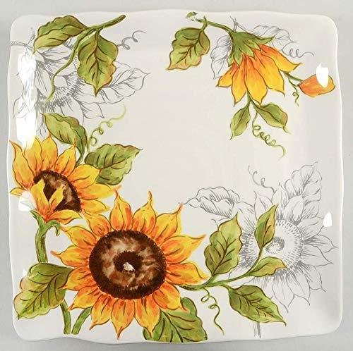 "Maxcera Sunflower 11"" Square Dinner Plates - Set of 4."