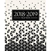 Agenda 2018-2019: 1 de septiembre, 2018 - 31 de agosto, 2019: 190 x 235 mm : Agenda 2018-2019 semana vista español : 160 g/m² : Agenda semanal 12 meses: Triángulos abstractos en blanco y negro