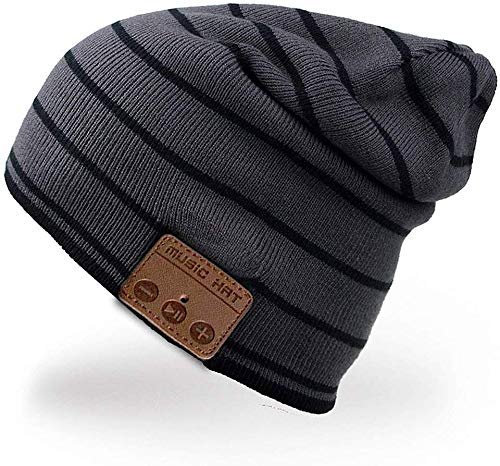 HONGYU Bluetooth Beanie Hat Winter Warm Soft Knit Hat Cap with Wireless Headphone Headset Stereo Speaker Mic – Android Cell Phones for Women Men , Best Christmas Gifts – Black