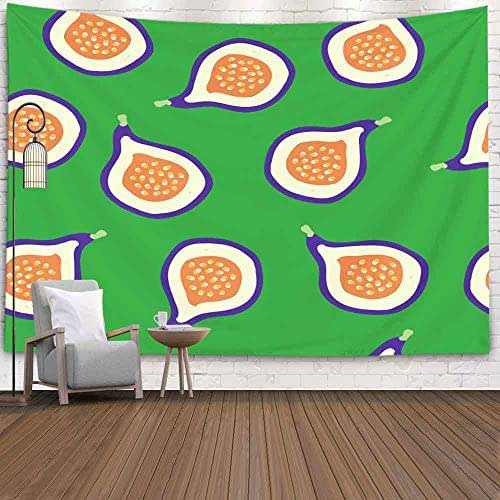 Leacape College Dorm Tapestry, Art Decor Fruit Pattern Green Background Ripe Good Postcards Packaging Banner Simple Living Room and Bedroom Decoration Huge Tapestry Beautiful Design