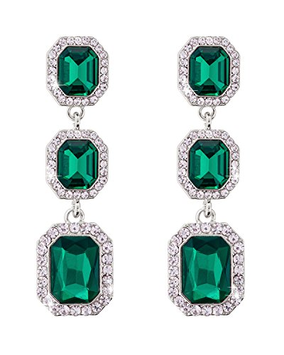 Jane Stone Fashion Emerald Sliver Octagon Rinestone Dangle Earring with Double Drop Ornate Wedding Jewelry for Women