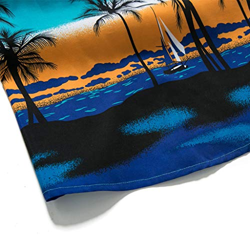 NUWFOR Men Hawaiian Print Short T-Shirt Sports Beach Quick Dry Blouse Top Blouse(Blue,M US Chest:40.9'' by NUWFOR (Image #3)