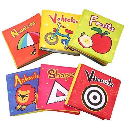 TOP BRIGHT Soft Cloth Books for Babies, Baby Toys 6 to 12 Months Girls, Crinkle Books for Infants 1 Year Old (Pack of 6) (Best Developmental Toys For 5 Month Old)
