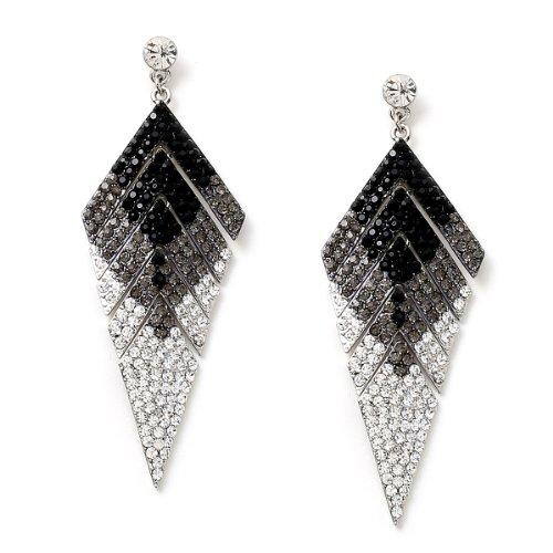 Silver Crystal, Black Diamond and Jet Rhinestones in Arrowhead Shape Earrings (Crystal Earrings Arrowhead)