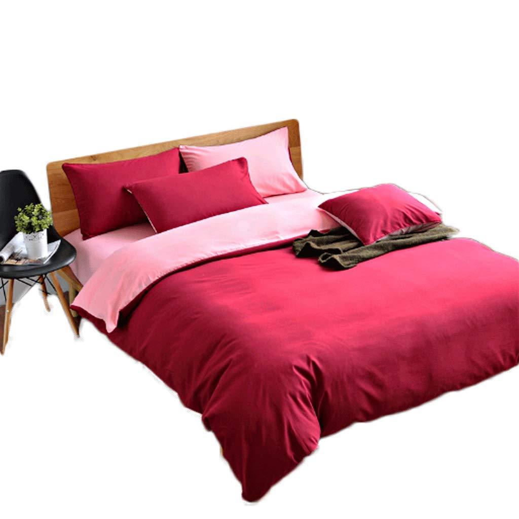 GJ Literie 4 Pièce Set Couleur Unie 220 × 240cm Taie d'oreiller Quilt Sheets Coton Et Polyester Four Seasons Universal ( Couleur   Sauce violet Jade )