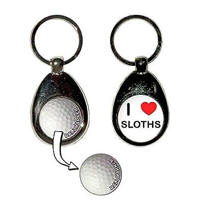 I Love Heart Sloths - Golf Ball Marker Key Ring - Toy