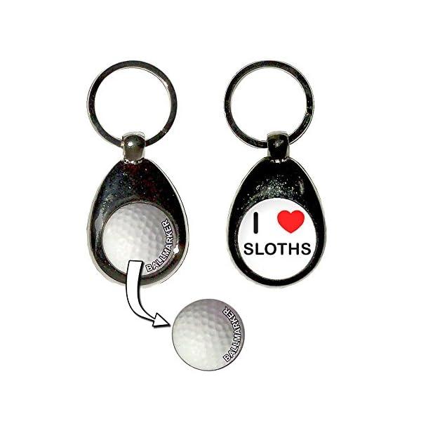 I Love Heart Sloths - Golf Ball Marker Key Ring -
