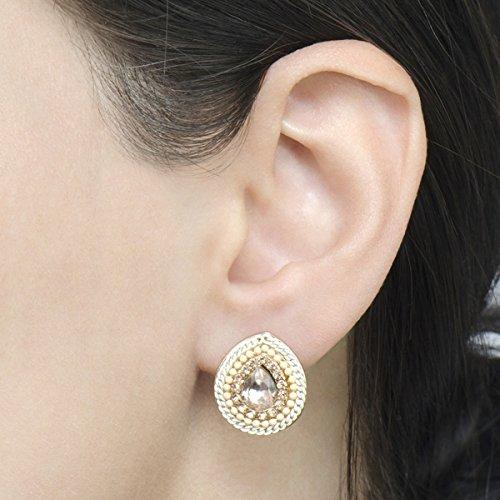 Bohemain Beaded Pear Shape Stud Earrings - Pink