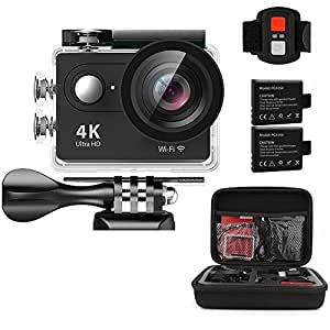 AEDILYS 4K WIFI Sports Action Camera Ultra HD Waterproof DV Camcorder 12MP 170 Degree Wide Angle 2 inch LCD Screen / 2.4G Remote Control with 2 Batteries-Black