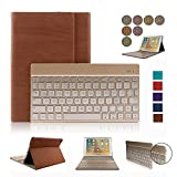 iPad Pro 9.7 Keyboard Case,Dingrich Trifold Slim PU Leather Smart Case Cover with Colorful Backlight Aluminum Keyboard for iPad Pro 9.7 Inch + Screen Protector + Stylus(Brown)