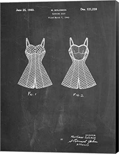 Chalkboard Bathing Suit Patent by Cole Borders Canvas Art