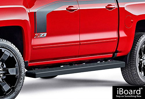 Truck Step Rails - iBoard (Black Powder Coated 5 inches) Running Boards | Nerf Bars | Side Steps | Step Rails For 2007-2018 Chevy Silverado / GMC Sierra Crew Cab