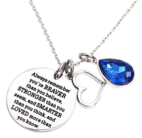 You Are Braver Than You Believe Awareness Necklace Birthstone Graduation Gift Best Friend Encouragement Gifts (Birthstone Necklace)