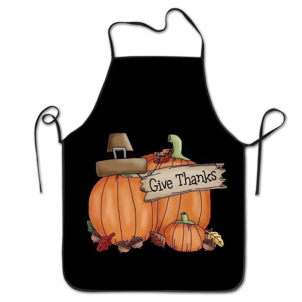 HAIGORO Professional Chef Apron Tearing Resistance Kitchen Aprons Giving Thanks from The Heart Thanksgiving Chef Apron Cooking Apron Barbecue Aprons,Eco-Friendly