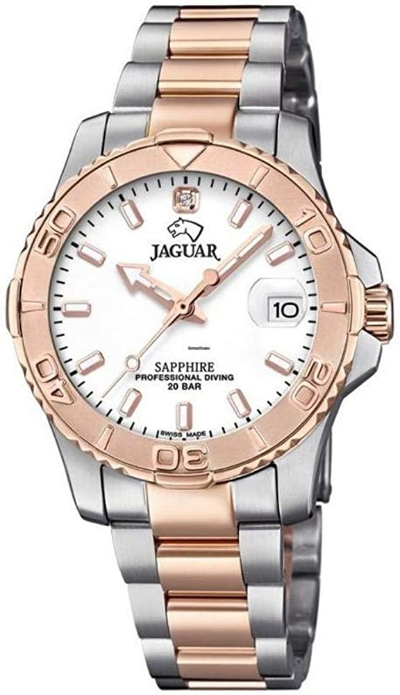 Reloj JAGUAR Executive SEÑORA, Swiss Made (Caja Acero-Bronce, Esfera MARRÓN, Indice CIRCONITA)