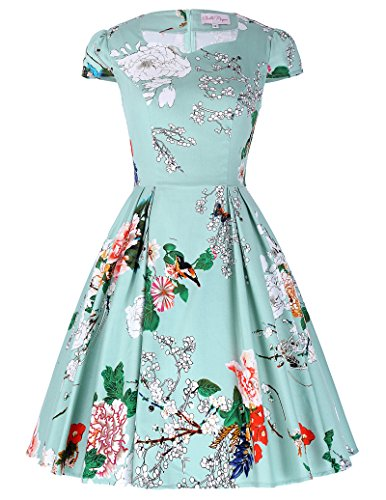 Belle-Poque-Womens-Retro-Floral-Cap-Sleeve-Flare-A-Line-Dress-Party-Picnic-BP239