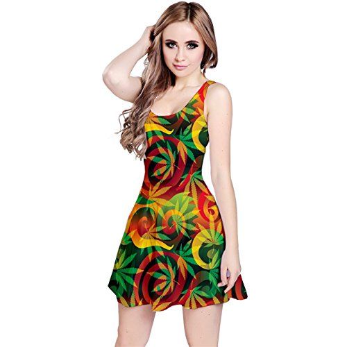 Cannabis weed ganja rasta reggae color psychedellic trippy hippie hipster design skater Dress