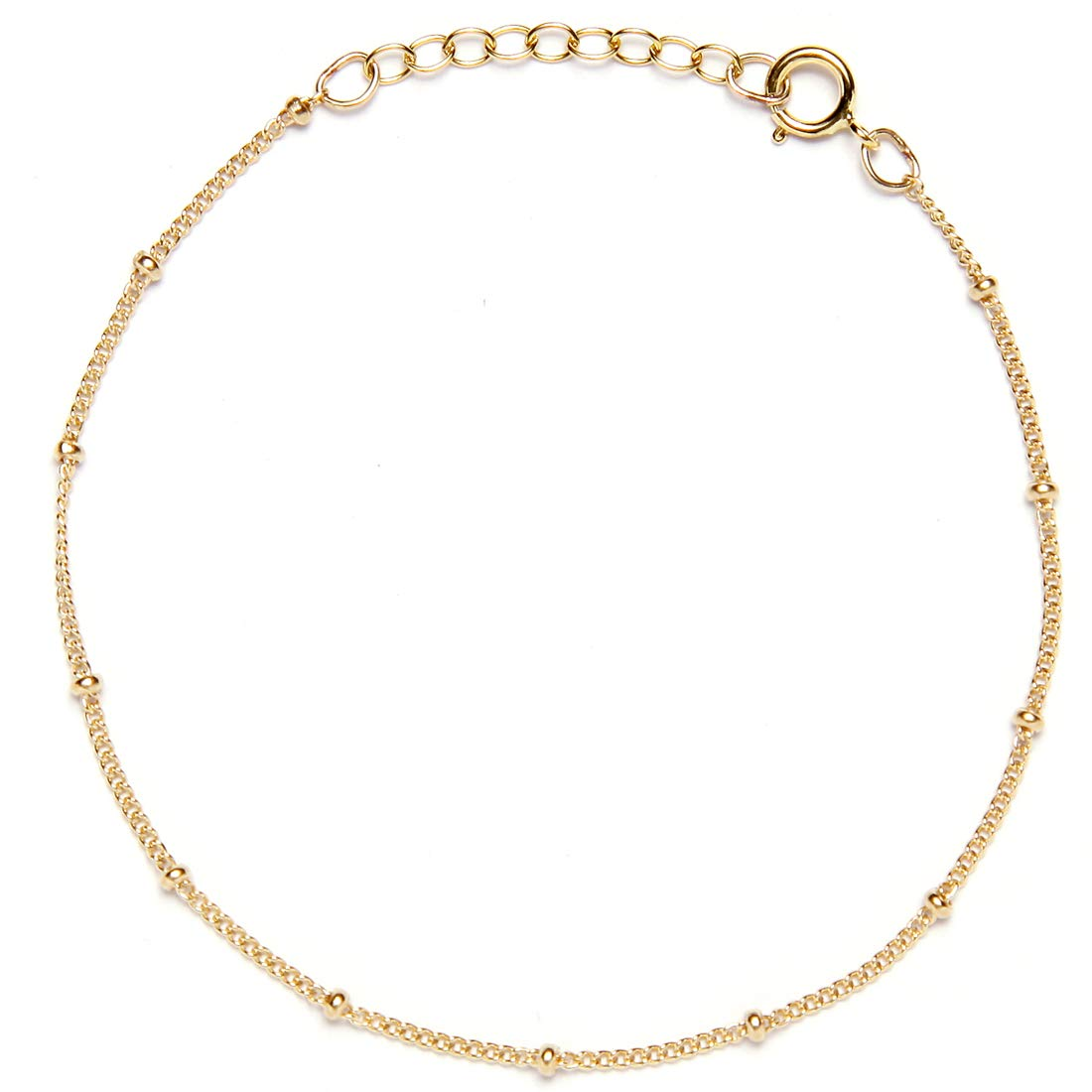 BENIQUE Dainty Bracelet for Women, 925 Sterling Silver, 14K Gold Filled, Rose Gold Filled, Minimalist Chain Jewelry for Layering, Made in USA, 6.5''+1'' Adjustable Extender (14K Gold Filled)