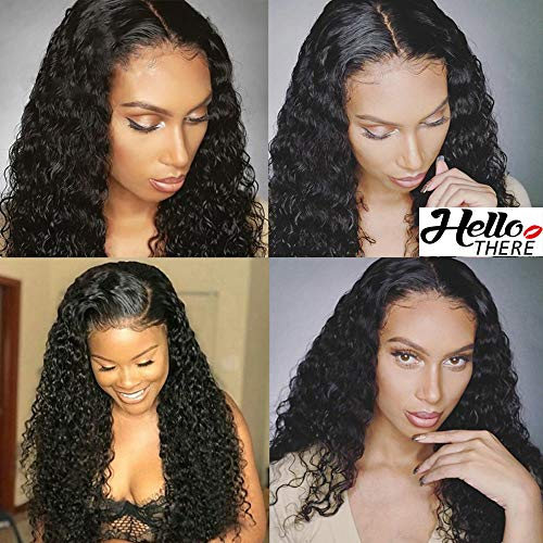 360 Lace Frontal Wigs Pre Plucked Brazilian Virgin Water Wave Human Hair Wigs for Black Women with Baby Hair 20 inch Natural Color
