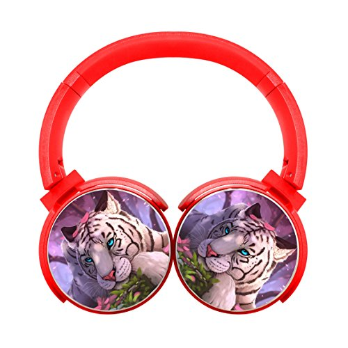 Gamer chart Flower and White Tiger Stereo Wireless Headphones with Microphone On-Ear Foldable Portable Music Headsets for Cellphones Laptop Tablet TV HeadphonesRed
