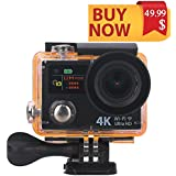 GreatCool Dual-screen Waterproof Action Camera 4K 25fps HD 2.0 Inch LCD Wireless Remote Controller with 2 Batteries