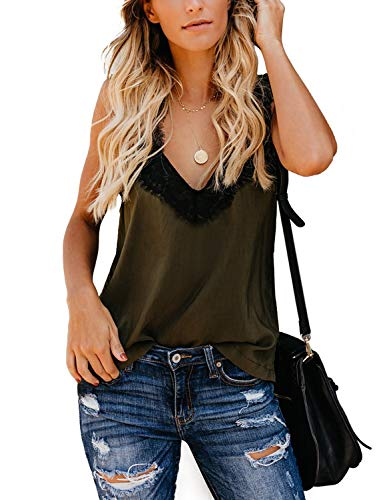 Print Leopard Lace - BMJL Women's Lace Cami Leopard Print Basic Tops Vest V Neck Sleeveless Tank Top(L,Green)