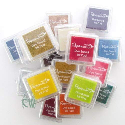 20 x Papermania Small Coloured Ink Pad Assortment Dye Based (General/Stamping) Docrafts (Design Objectives)