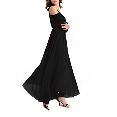 Afibi Womens Off Shoulder Long Chiffon Casual Dress Maxi Evening Dress at Women's Clothing store
