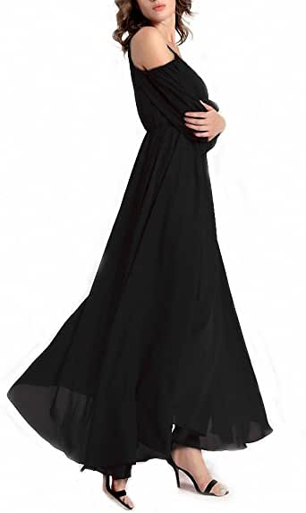 Afibi Womens Off Shoulder Long Chiffon Casual Dress Maxi Evening Dress