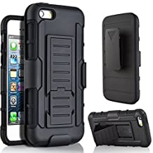 5C Case, Lantier Full Protection Heavy Duty Hybrid Armor Dual Layers Holster Combo Rugged Defender Protective Case for Apple iPhone 5C with Kickstand and Locking Belt Swivel Clip - Black